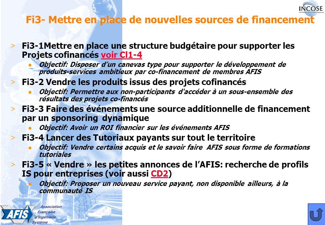 Fi3- Mettre en place de nouvelles sources de financement > Fi3-1Mettre en place une structure budgétaire pour supporter les Projets cofinancés voir Cl1-4voir Cl1-4 l Objectif: Disposer dun canevas type pour supporter le développement de produits-services ambitieux par co-financement de membres AFIS > Fi3-2 Vendre les produits issus des projets cofinancés l Objectif: Permettre aux non-participants d accéder à un sous-ensemble des résultats des projets co-financés > Fi3-3 Faire des événements une source additionnelle de financement par un sponsoring dynamique l Objectif: Avoir un ROI financier sur les événements AFIS > Fi3-4 Lancer des Tutoriaux payants sur tout le territoire l Objectif: Vendre certains acquis et le savoir faire AFIS sous forme de formations tutoriales > Fi3-5 « Vendre » les petites annonces de lAFIS: recherche de profils IS pour entreprises (voir aussi CD2)CD2 l Objectif: Proposer un nouveau service payant, non disponible ailleurs, à la communauté IS