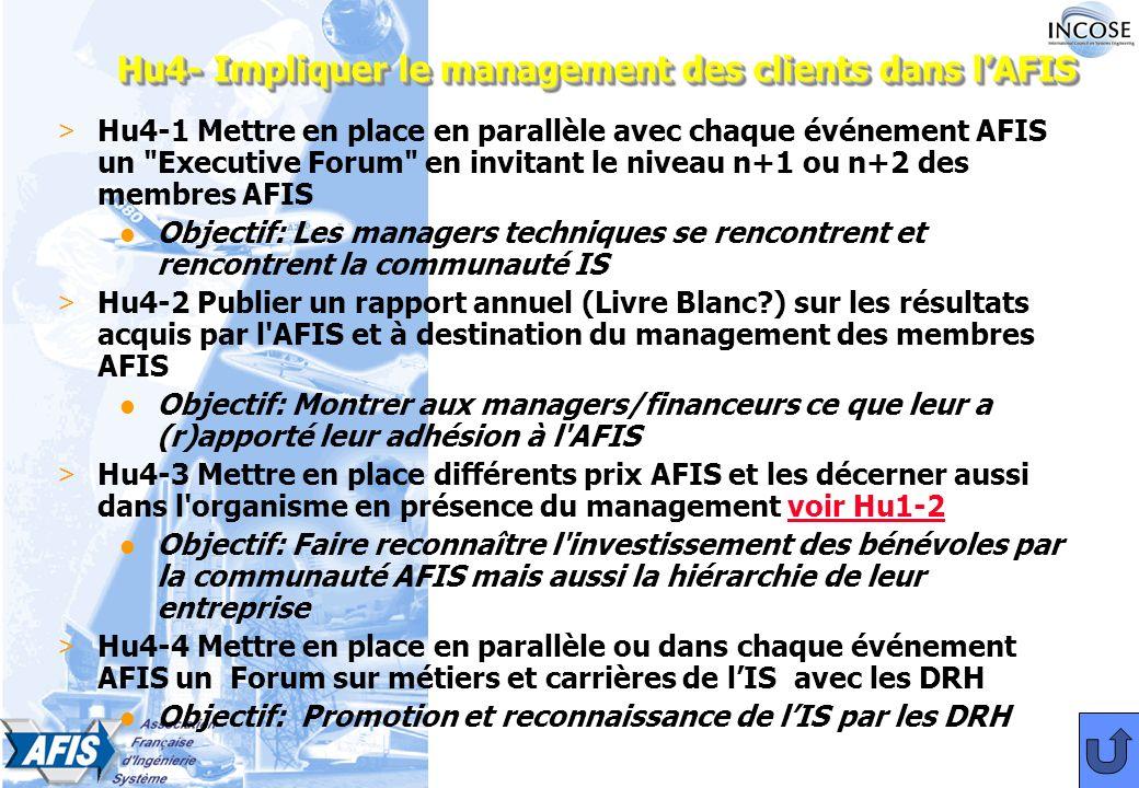 Hu4- Impliquer le management des clients dans lAFIS > Hu4-1 Mettre en place en parallèle avec chaque événement AFIS un Executive Forum en invitant le niveau n+1 ou n+2 des membres AFIS l Objectif: Les managers techniques se rencontrent et rencontrent la communauté IS > Hu4-2 Publier un rapport annuel (Livre Blanc?) sur les résultats acquis par l AFIS et à destination du management des membres AFIS l Objectif: Montrer aux managers/financeurs ce que leur a (r)apporté leur adhésion à l AFIS > Hu4-3 Mettre en place différents prix AFIS et les décerner aussi dans l organisme en présence du management voir Hu1-2voir Hu1-2 l Objectif: Faire reconnaître l investissement des bénévoles par la communauté AFIS mais aussi la hiérarchie de leur entreprise > Hu4-4 Mettre en place en parallèle ou dans chaque événement AFIS un Forum sur métiers et carrières de lISavec les DRH l Objectif: Promotion et reconnaissance de lIS par les DRH
