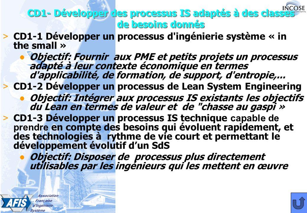 CD1- Développer des processus IS adaptés à des classes de besoins donnés > CD1-1 Développer un processus d ingénierie système « in the small » l Objectif: Fournir aux PME et petits projets un processus adapté à leur contexte économique en termes d applicabilité, de formation, de support, d entropie,...