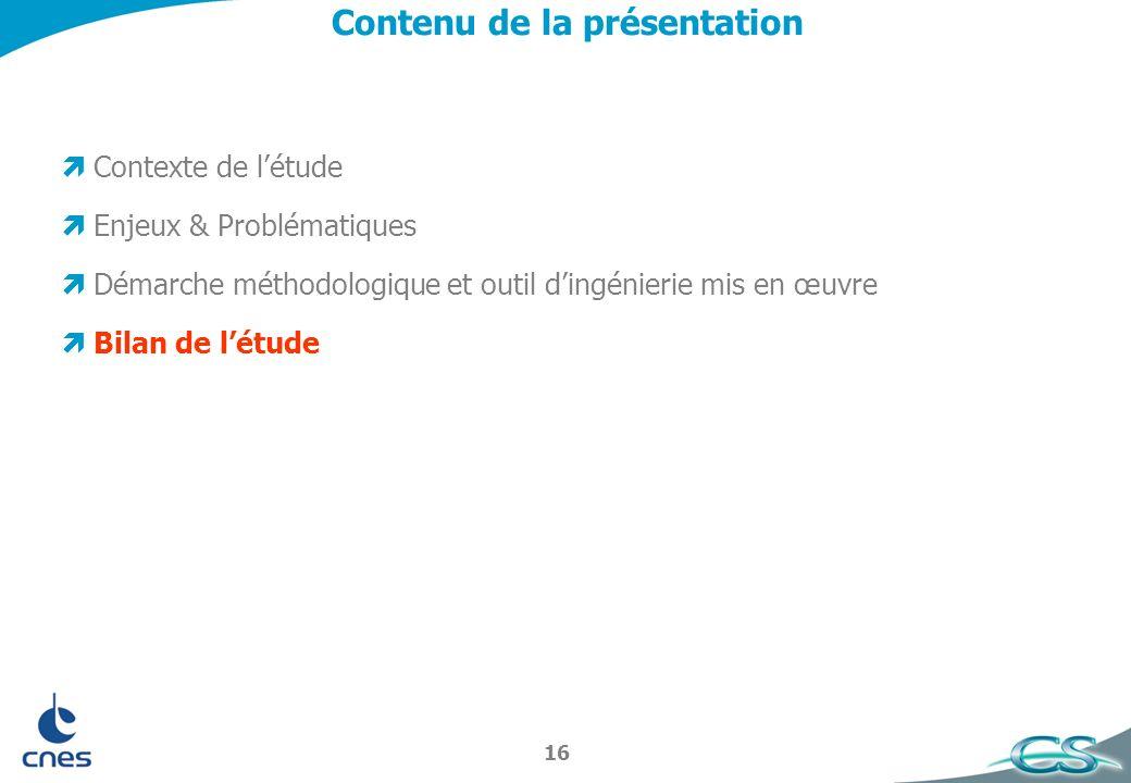16 Contenu de la présentation Contexte de létude Enjeux & Problématiques Démarche méthodologique et outil dingénierie mis en œuvre Bilan de létude