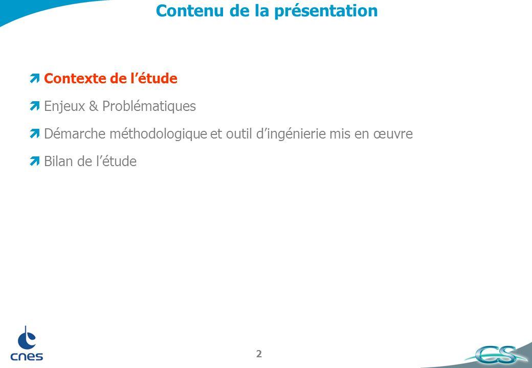 2 Contenu de la présentation Contexte de létude Enjeux & Problématiques Démarche méthodologique et outil dingénierie mis en œuvre Bilan de létude