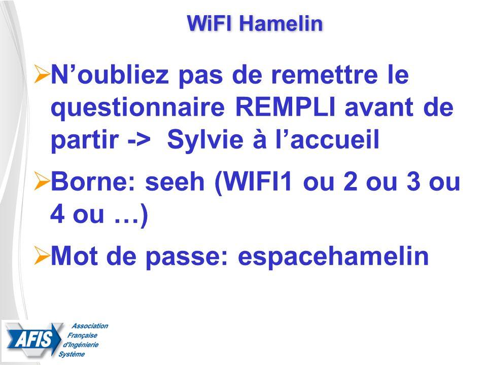 WiFI Hamelin Noubliez pas de remettre le questionnaire REMPLI avant de partir -> Sylvie à laccueil Borne: seeh (WIFI1 ou 2 ou 3 ou 4 ou …) Mot de pass