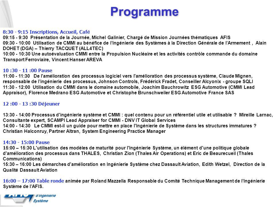 Programme 8:30 - 9:15 Inscriptions, Accueil, Café 09:15 - 9:30 Présentation de la Journée, Michel Galinier, Chargé de Mission Journées thématiques AFI
