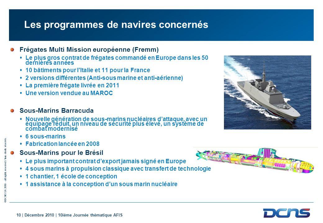 ©DCNS SA 2010 - all rights reserved / tous droits réservés 10 | Décembre 2010 | 10ième Journée thèmatique AFIS Les programmes de navires concernés Fré
