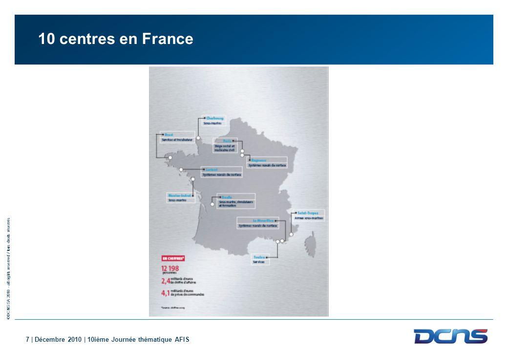 ©DCNS SA 2010 - all rights reserved / tous droits réservés 7 | Décembre 2010 | 10ième Journée thèmatique AFIS 10 centres en France