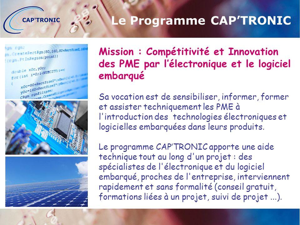 Le Programme CAPTRONIC Mission : Compétitivité et Innovation des PME par lélectronique et le logiciel embarqué Sa vocation est de sensibiliser, informer, former et assister techniquement les PME à l introduction des technologies électroniques et logicielles embarquées dans leurs produits.