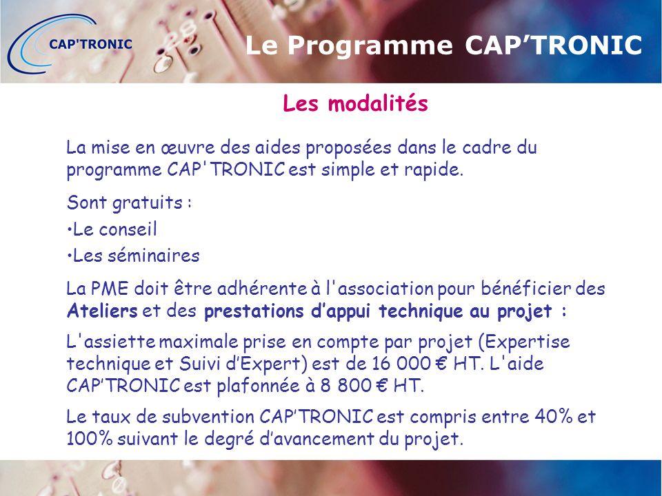 Les modalités La mise en œuvre des aides proposées dans le cadre du programme CAP TRONIC est simple et rapide.