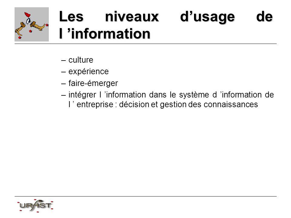 Les niveaux dusage de l information –culture –expérience –faire-émerger –intégrer l information dans le système d information de l entreprise : décision et gestion des connaissances