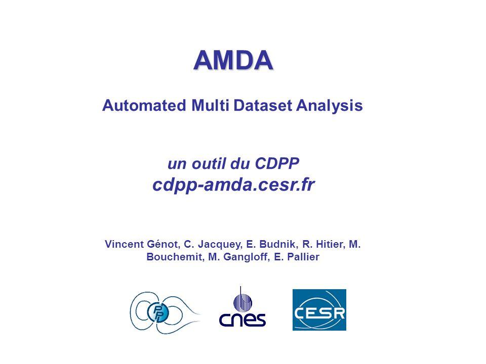 AMDA Automated Multi Dataset Analysis un outil du CDPP cdpp-amda.cesr.fr Vincent Génot, C. Jacquey, E. Budnik, R. Hitier, M. Bouchemit, M. Gangloff, E