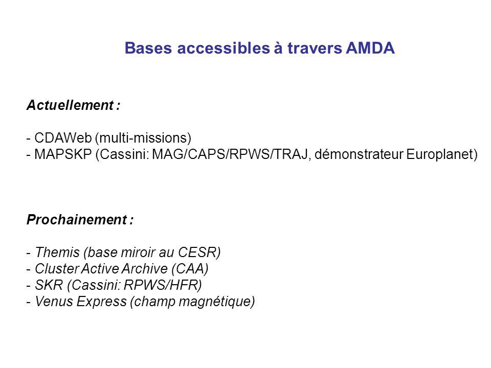Bases accessibles à travers AMDA Actuellement : - CDAWeb (multi-missions) - MAPSKP (Cassini: MAG/CAPS/RPWS/TRAJ, démonstrateur Europlanet) Prochainement : - Themis (base miroir au CESR) - Cluster Active Archive (CAA) - SKR (Cassini: RPWS/HFR) - Venus Express (champ magnétique)
