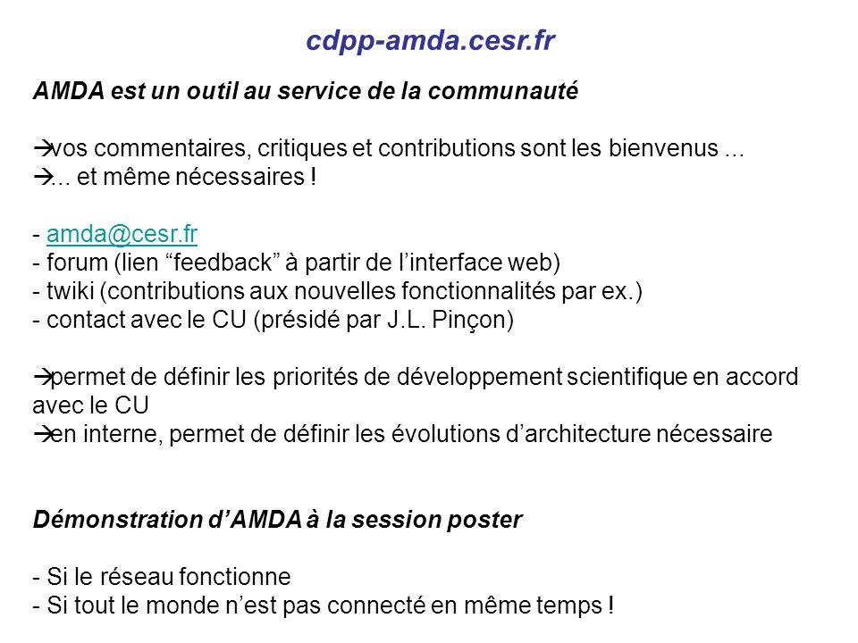 AMDA est un outil au service de la communauté vos commentaires, critiques et contributions sont les bienvenus......