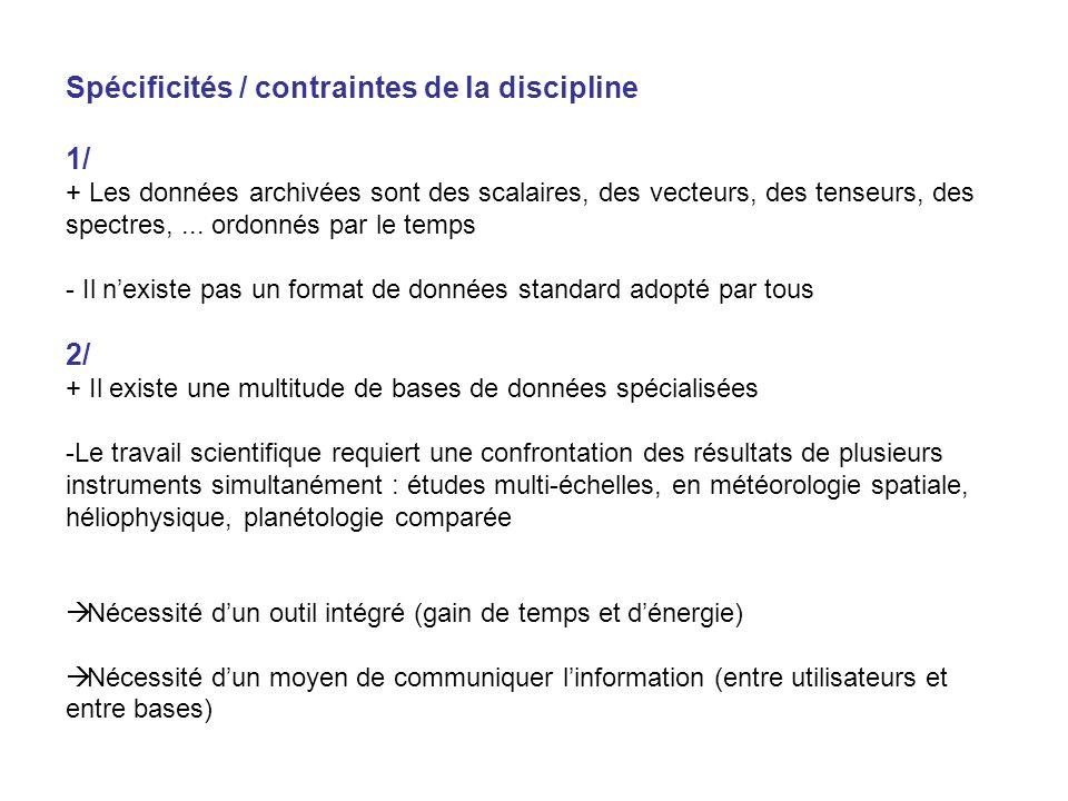 Spécificités / contraintes de la discipline 1/ + Les données archivées sont des scalaires, des vecteurs, des tenseurs, des spectres,...