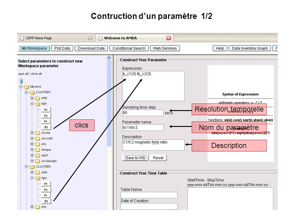 Contruction dun paramètre 1/2 clics Résolution temporelle Nom du paramètre Description