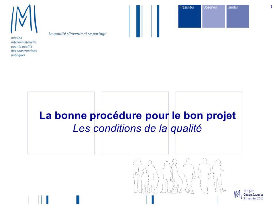 MIQCP Gérard Lamour 31 janvier 2013 1 La bonne procédure pour le bon projet Les conditions de la qualité