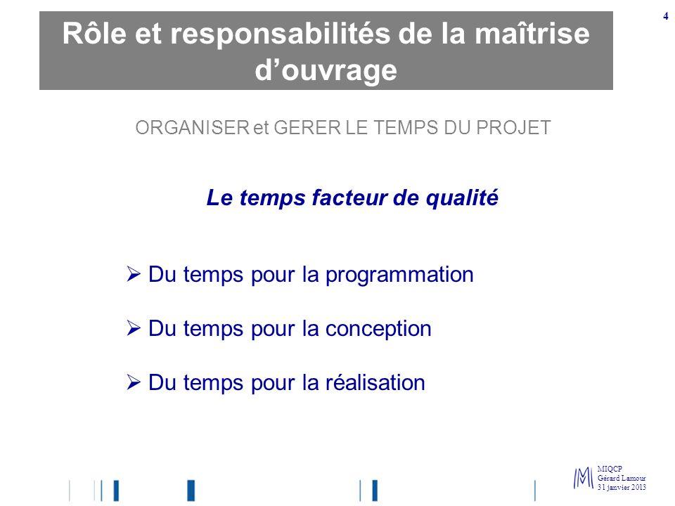MIQCP Gérard Lamour 31 janvier 2013 4 ORGANISER et GERER LE TEMPS DU PROJET Le temps facteur de qualité Du temps pour la programmation Du temps pour l