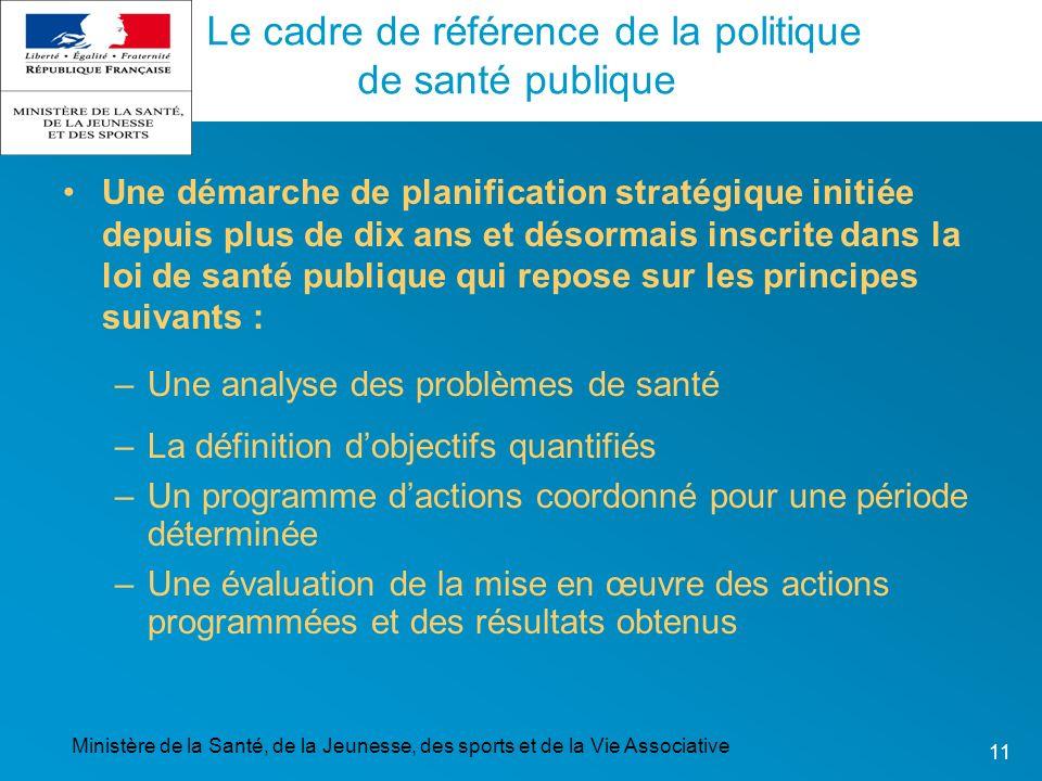 Ministère de la Santé, de la Jeunesse, des sports et de la Vie Associative 11 Le cadre de référence de la politique de santé publique Une démarche de