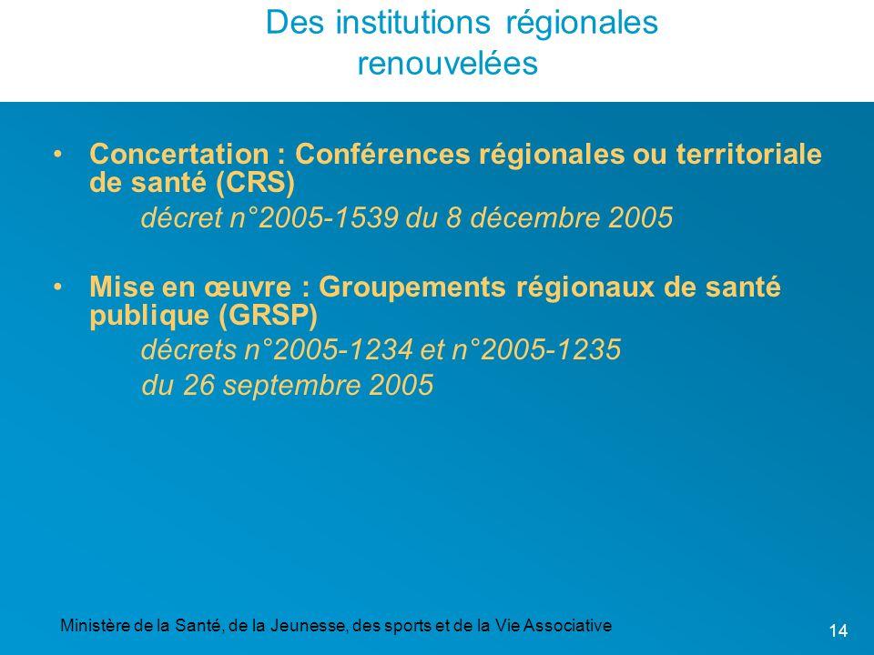 Ministère de la Santé, de la Jeunesse, des sports et de la Vie Associative 14 Concertation : Conférences régionales ou territoriale de santé (CRS) déc