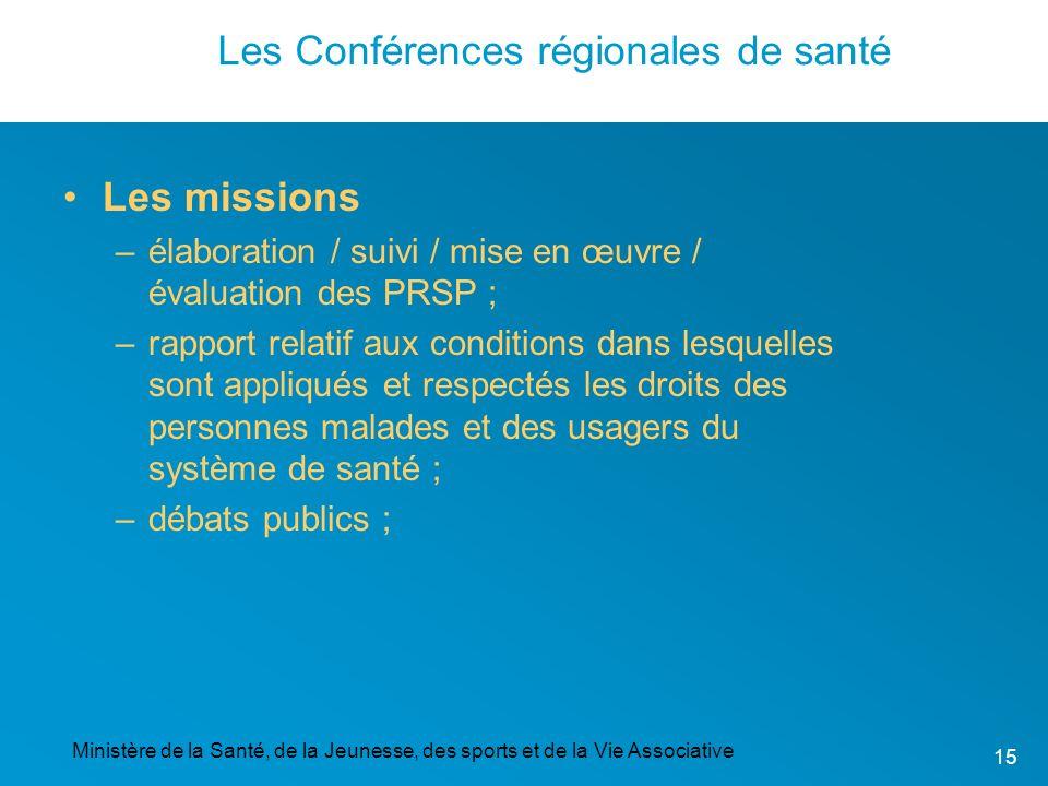 Ministère de la Santé, de la Jeunesse, des sports et de la Vie Associative 15 Les Conférences régionales de santé Les missions –élaboration / suivi /
