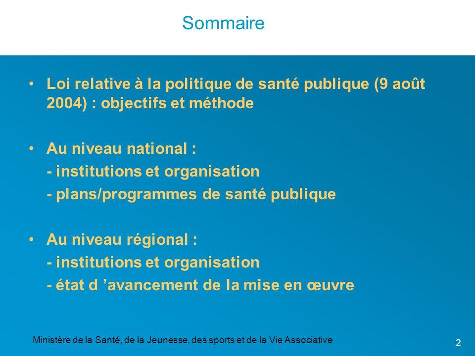 Ministère de la Santé, de la Jeunesse, des sports et de la Vie Associative 2 Sommaire Loi relative à la politique de santé publique (9 août 2004) : ob
