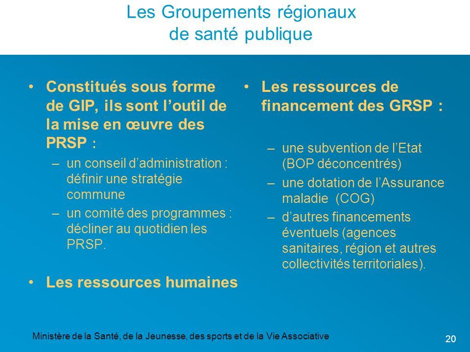 Ministère de la Santé, de la Jeunesse, des sports et de la Vie Associative 20 Les Groupements régionaux de santé publique Constitués sous forme de GIP