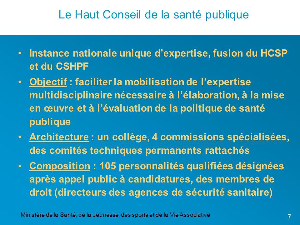 Ministère de la Santé, de la Jeunesse, des sports et de la Vie Associative 7 Le Haut Conseil de la santé publique Instance nationale unique dexpertise