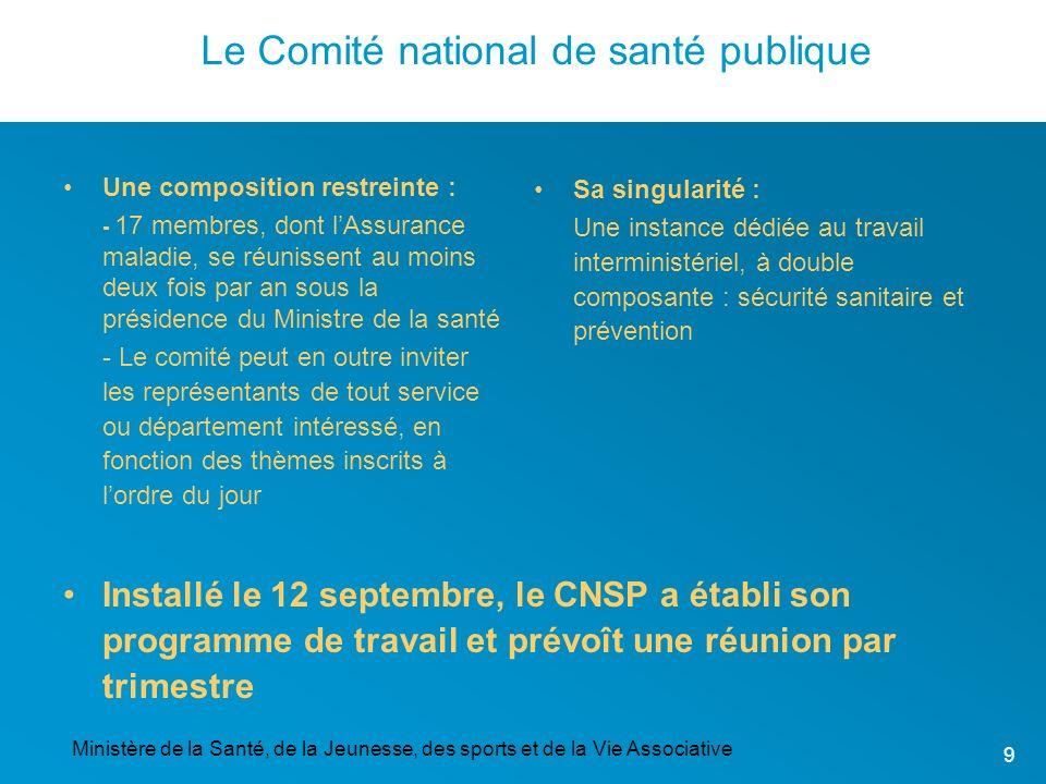 Ministère de la Santé, de la Jeunesse, des sports et de la Vie Associative 9 Le Comité national de santé publique Installé le 12 septembre, le CNSP a