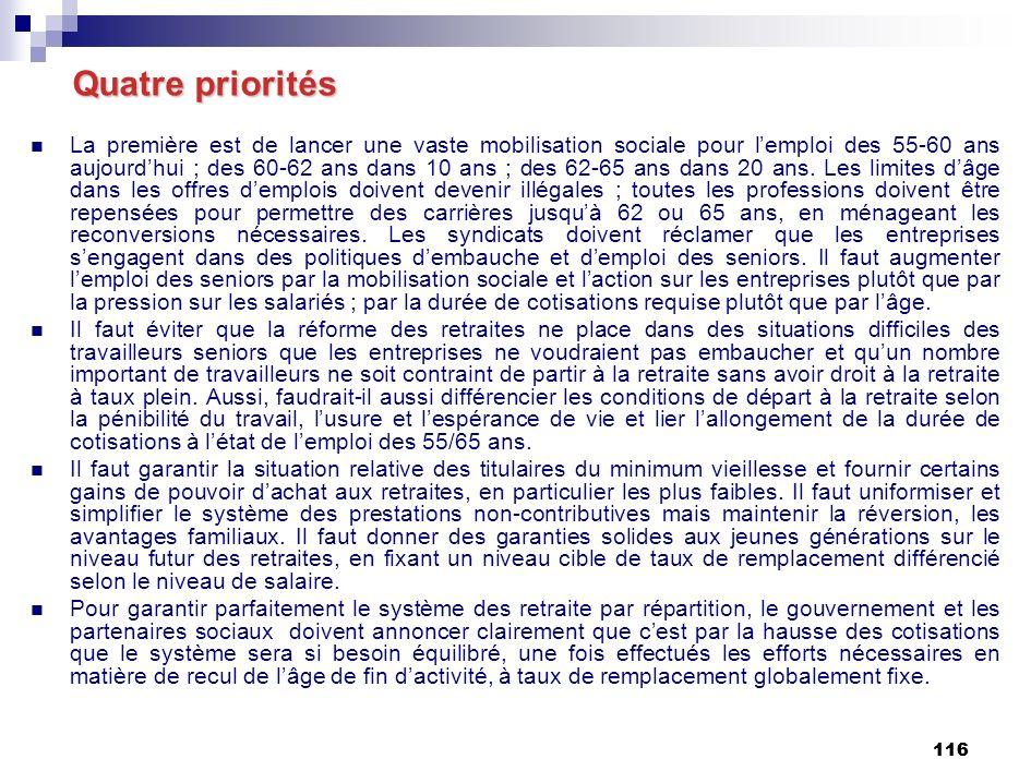 116 Quatre priorités La première est de lancer une vaste mobilisation sociale pour lemploi des 55-60 ans aujourdhui ; des 60-62 ans dans 10 ans ; des 62-65 ans dans 20 ans.