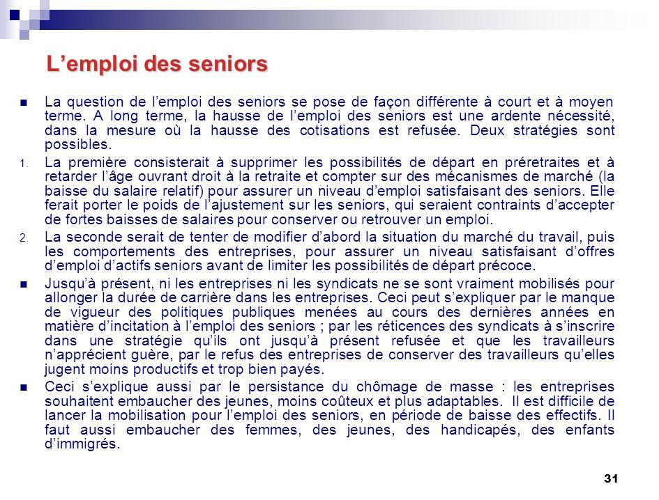 31 Lemploi des seniors Lemploi des seniors La question de lemploi des seniors se pose de façon différente à court et à moyen terme.