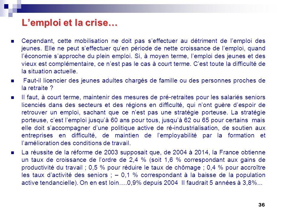36 Lemploi et la crise… Lemploi et la crise… Cependant, cette mobilisation ne doit pas seffectuer au détriment de lemploi des jeunes.