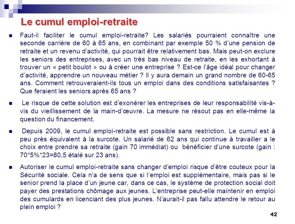 42 Le cumul emploi-retraite Faut-il faciliter le cumul emploi-retraite.