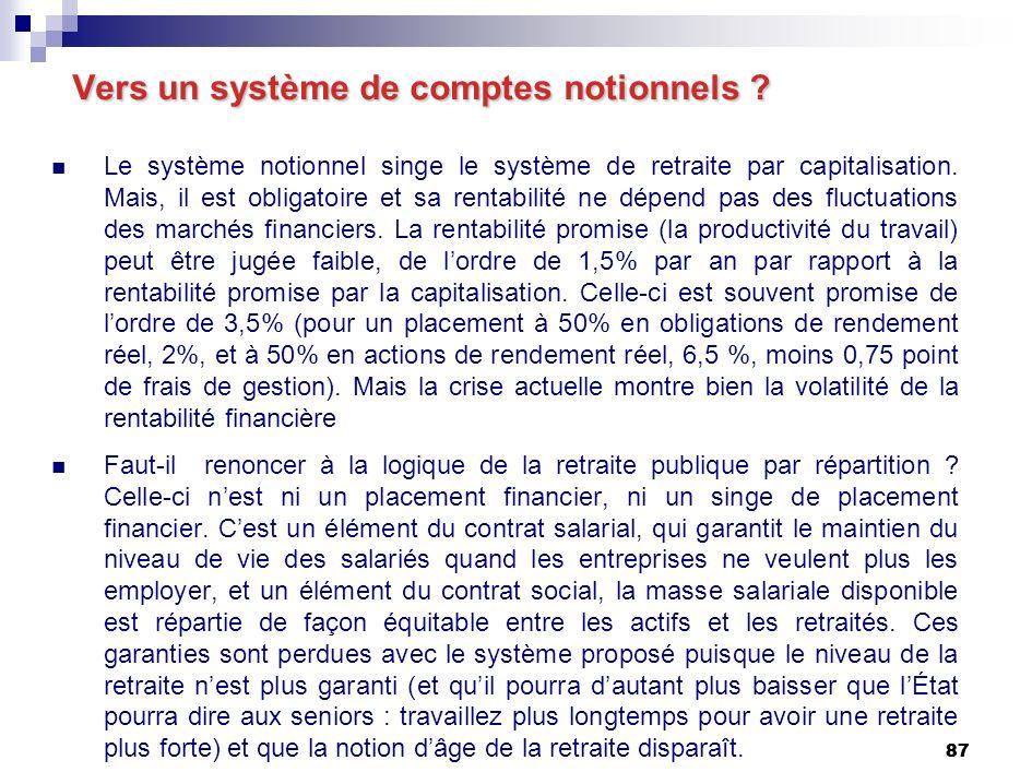 87 Vers un système de comptes notionnels .