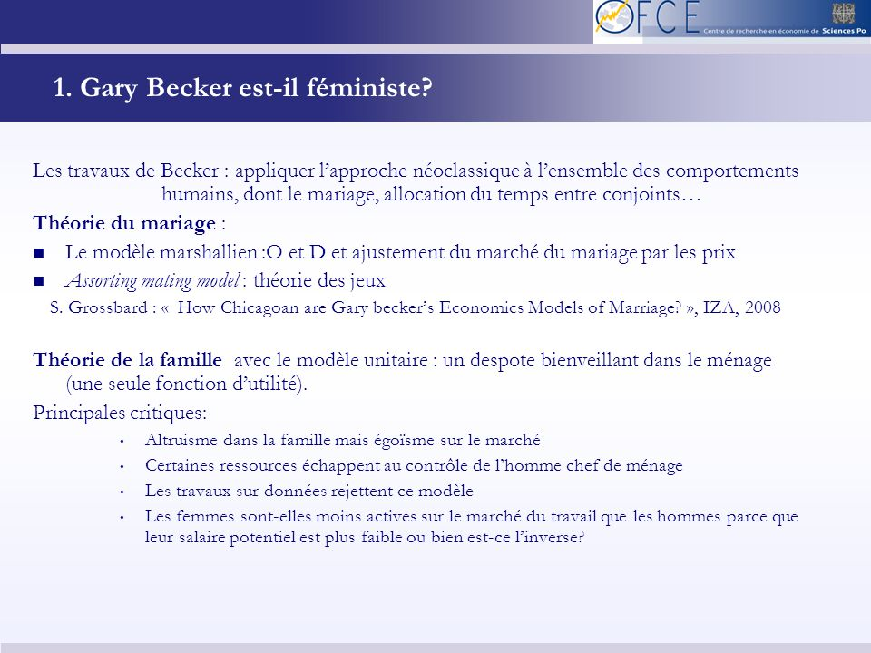 1. Gary Becker est-il féministe.