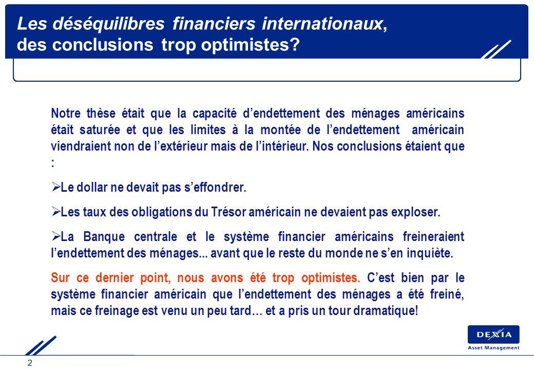 22 Les déséquilibres financiers internationaux, des conclusions trop optimistes? Notre thèse était que la capacité dendettement des ménages américains