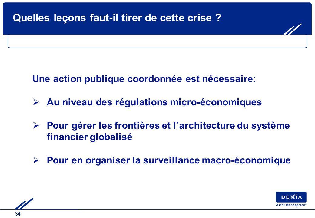 34 Quelles leçons faut-il tirer de cette crise ? Une action publique coordonnée est nécessaire: Au niveau des régulations micro-économiques Pour gérer