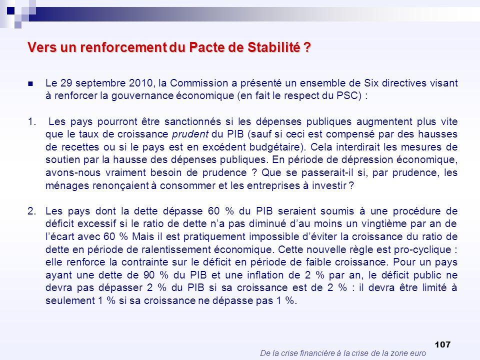 De la crise financière à la crise de la zone euro 107 Vers un renforcement du Pacte de Stabilité ? Le 29 septembre 2010, la Commission a présenté un e
