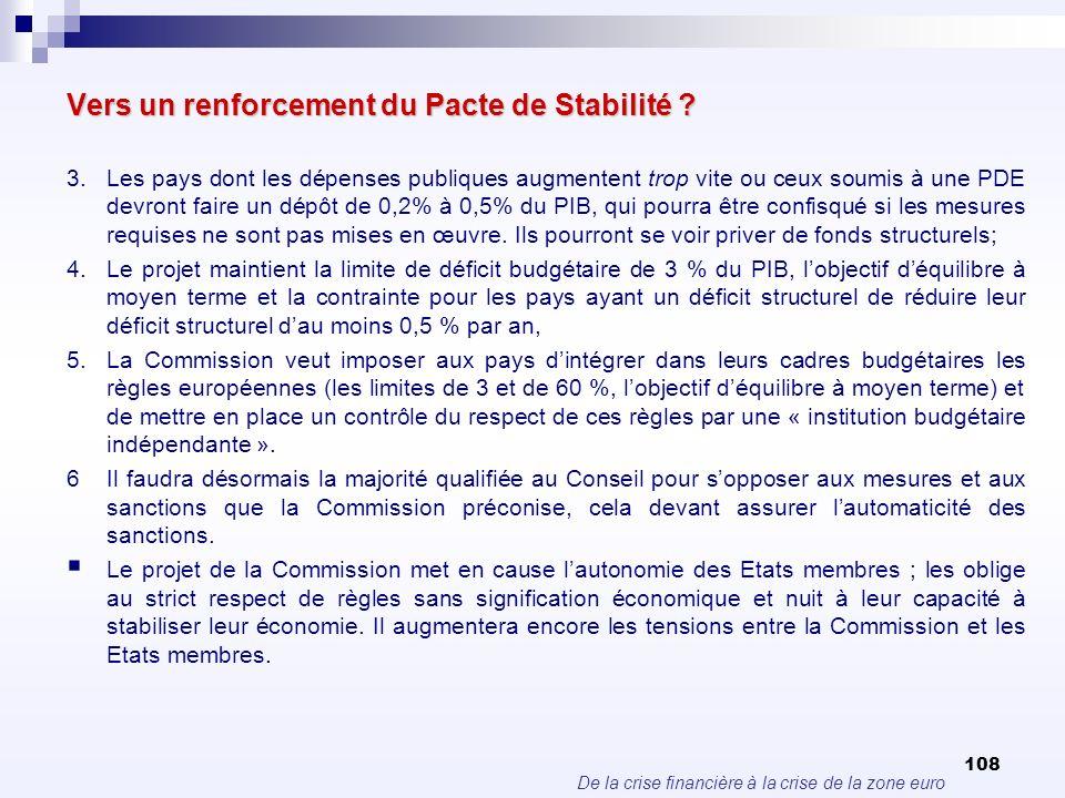 De la crise financière à la crise de la zone euro 108 Vers un renforcement du Pacte de Stabilité ? 3.Les pays dont les dépenses publiques augmentent t