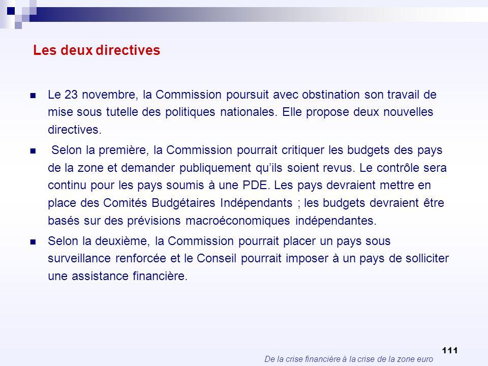De la crise financière à la crise de la zone euro 111 Les deux directives Le 23 novembre, la Commission poursuit avec obstination son travail de mise