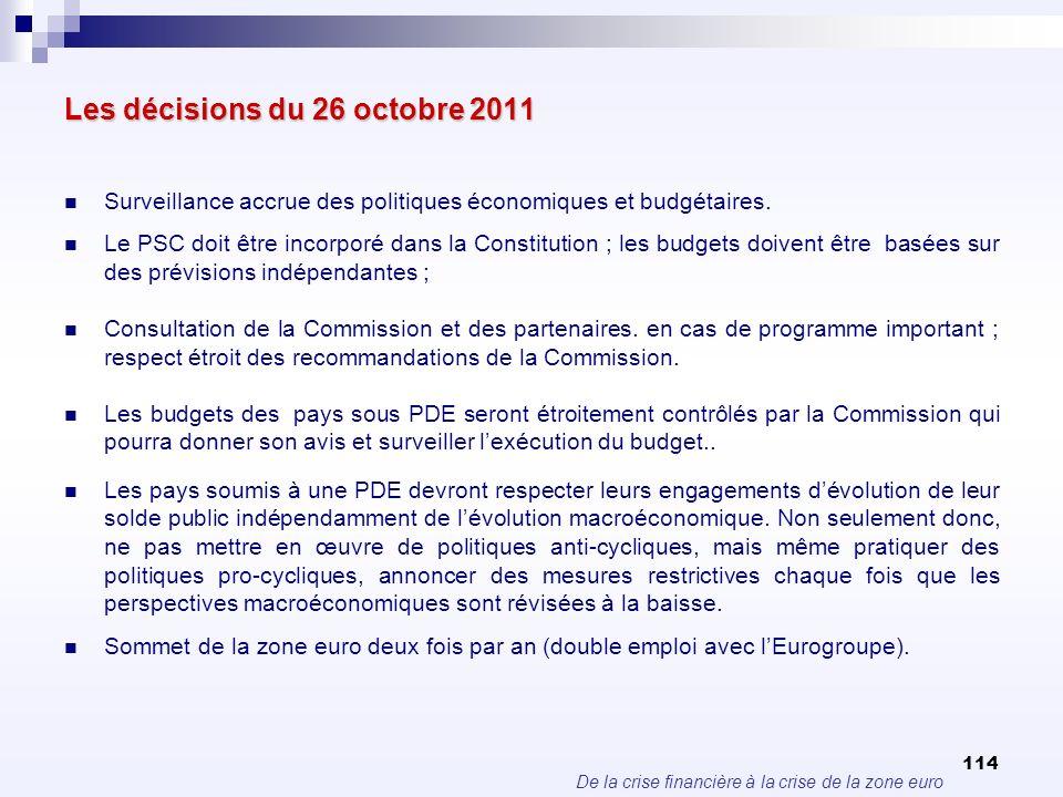 De la crise financière à la crise de la zone euro 114 Les décisions du 26 octobre 2011 Surveillance accrue des politiques économiques et budgétaires.