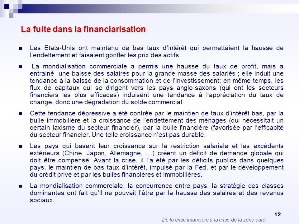De la crise financière à la crise de la zone euro 12 La fuite dans la financiarisation La fuite dans la financiarisation Les Etats-Unis ont maintenu d