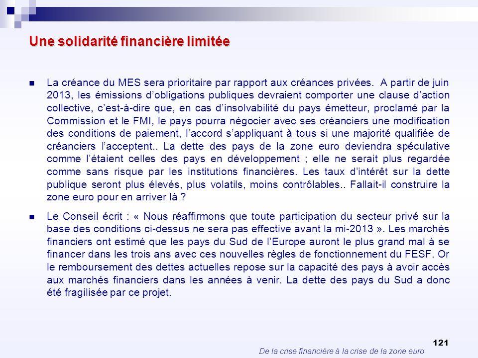De la crise financière à la crise de la zone euro 121 Une solidarité financière limitée La créance du MES sera prioritaire par rapport aux créances pr
