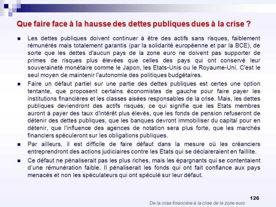 De la crise financière à la crise de la zone euro 126 Que faire face à la hausse des dettes publiques dues à la crise ? Les dettes publiques doivent c