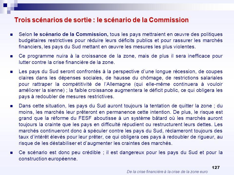 De la crise financière à la crise de la zone euro 127 Trois scénarios de sortie : le scénario de la Commission Selon le scénario de la Commission, tou