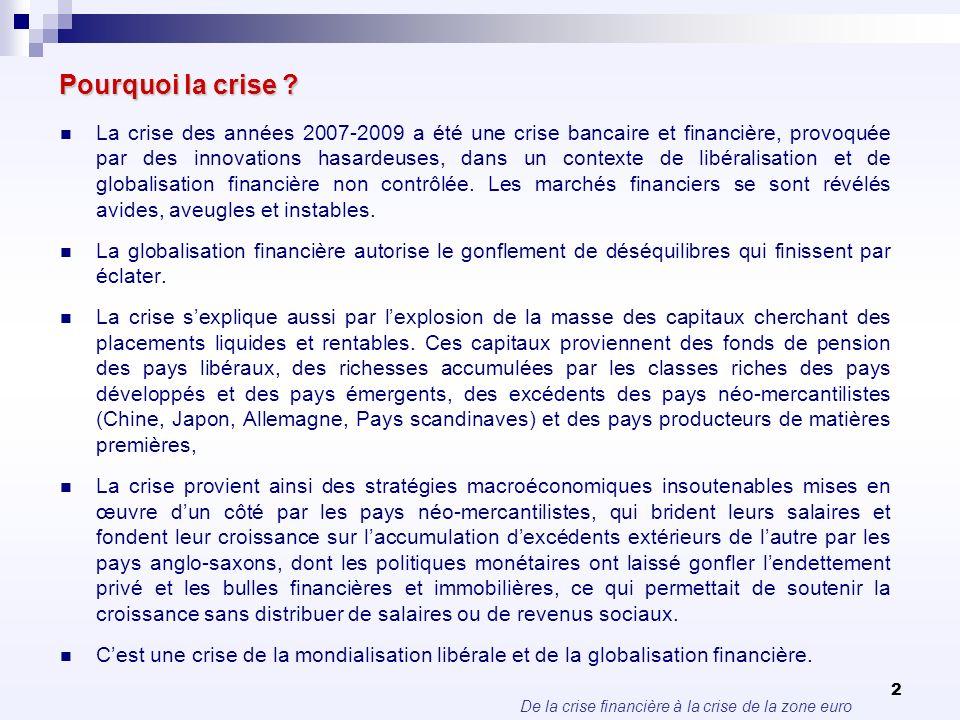 De la crise financière à la crise de la zone euro 2 Pourquoi la crise ? La crise des années 2007-2009 a été une crise bancaire et financière, provoqué