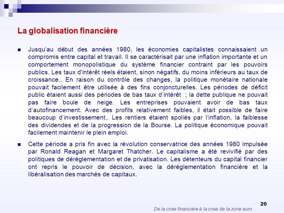 De la crise financière à la crise de la zone euro 20 La globalisation financière Jusquau début des années 1980, les économies capitalistes connaissaie