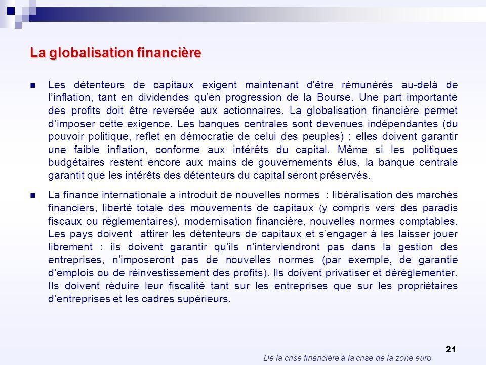 De la crise financière à la crise de la zone euro 21 La globalisation financière Les détenteurs de capitaux exigent maintenant dêtre rémunérés au-delà