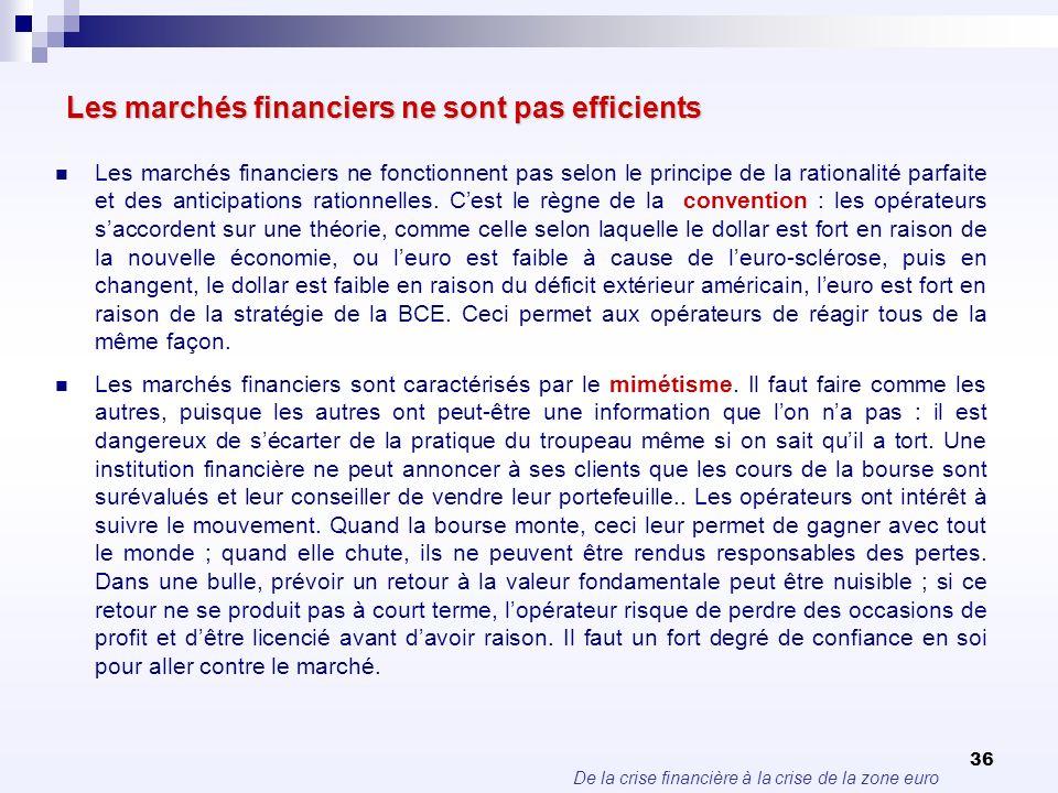 De la crise financière à la crise de la zone euro 36 Les marchés financiers ne sont pas efficients Les marchés financiers ne fonctionnent pas selon le