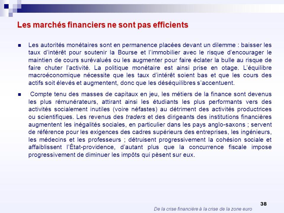 De la crise financière à la crise de la zone euro 38 Les marchés financiers ne sont pas efficients Les autorités monétaires sont en permanence placées