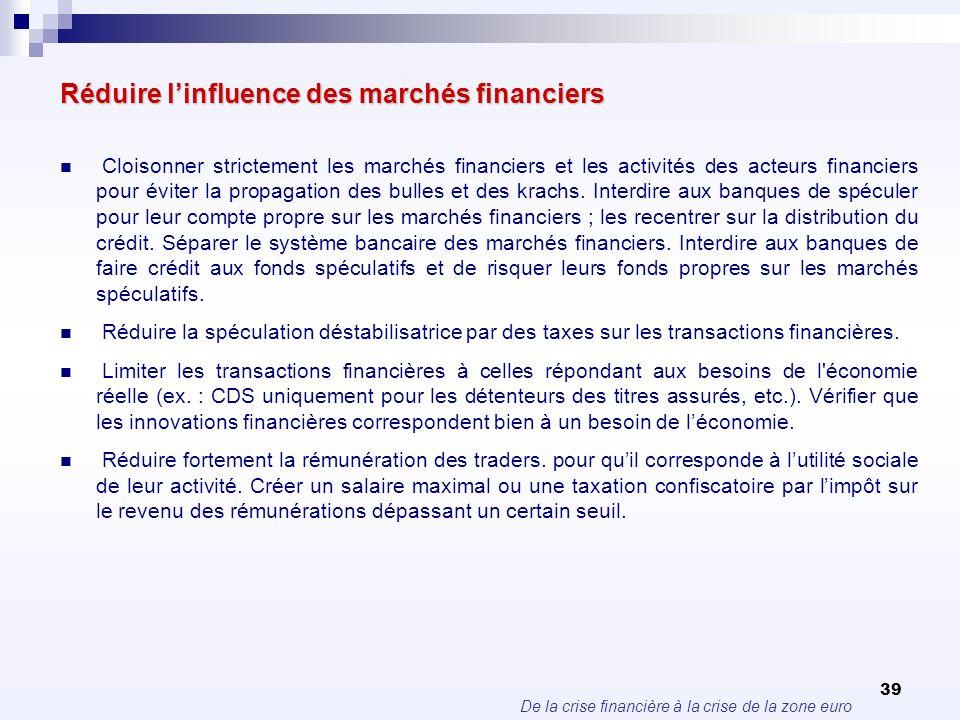 De la crise financière à la crise de la zone euro 39 Réduire linfluence des marchés financiers Cloisonner strictement les marchés financiers et les ac
