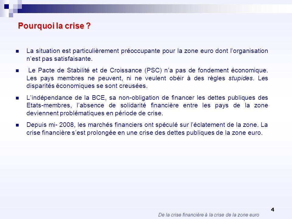 De la crise financière à la crise de la zone euro 4 Pourquoi la crise ? La situation est particulièrement préoccupante pour la zone euro dont lorganis