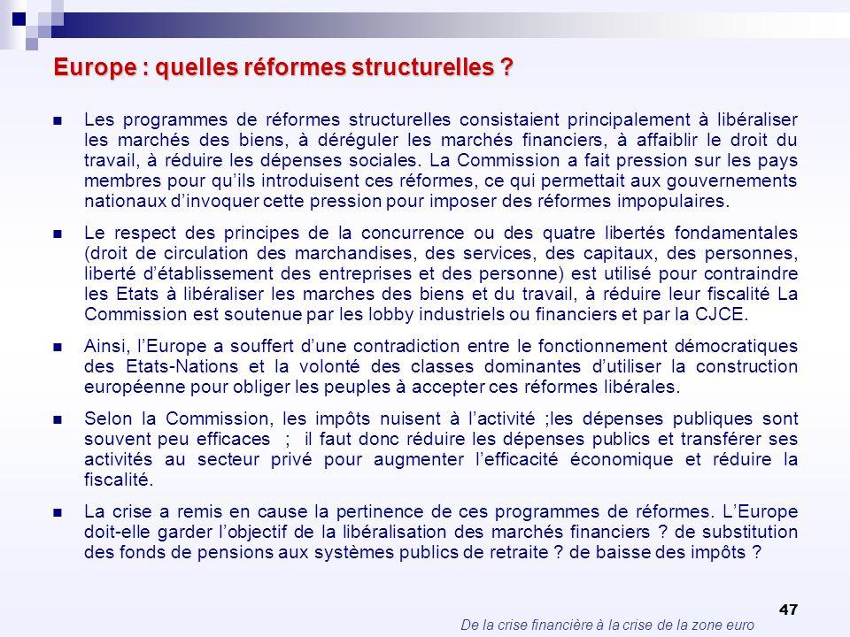 De la crise financière à la crise de la zone euro 47 Europe : quelles réformes structurelles ? Les programmes de réformes structurelles consistaient p